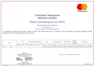Plastic Card Ltd has received MasterCard Quality Management System Compliance Certificate