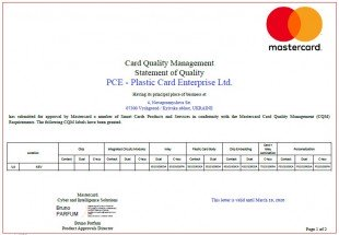 Plastic Card receives MasterCard Quality management system compliance certificate once again